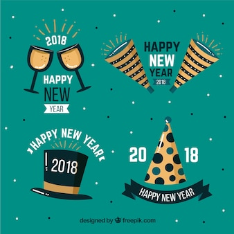 Hand drawn new year 2018 badge collection in green