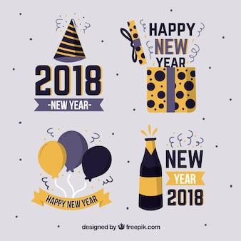 金色と黒の手描きの新年2018バッジコレクション