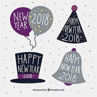 Hand drawn new year 2018 badge collection in purple and black
