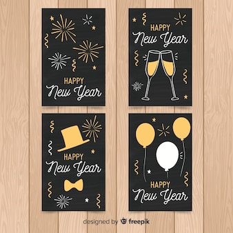 Hand drawn new year 2019 cards set