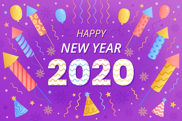 Hand drawn new year 2020 background concept