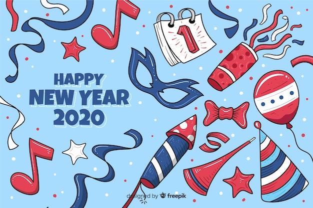 Hand drawn new year 2020 background