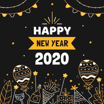 Hand drawn new year 2020 background