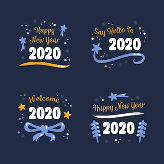 Hand drawn new year 2020 badge collection