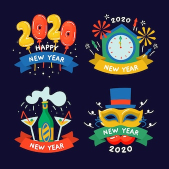 Hand drawn new year 2020 label collection