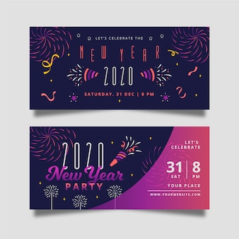 Hand drawn new year 2020 party banners set