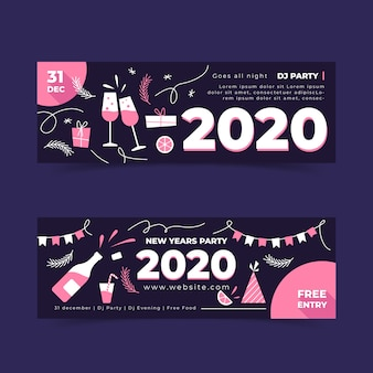 Hand drawn new year 2020 party banners template