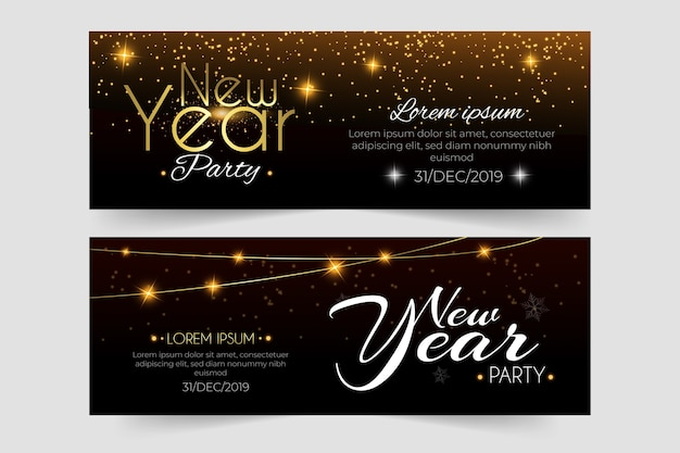 Hand drawn new year 2020 party banners