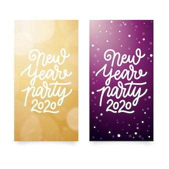 Banner festa di capodanno 2020 disegnati a mano