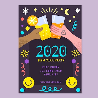 Hand drawn new year 2020 party flyer/poster template