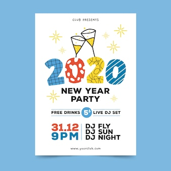 Hand drawn new year 2020 party flyer/poster