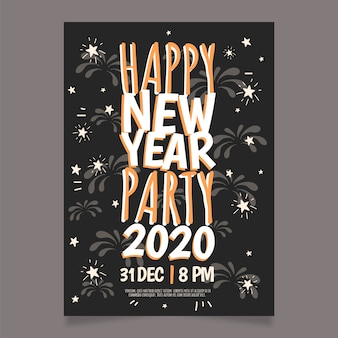 Hand drawn new year 2020 party flyer template