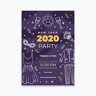 Hand drawn new year 2020 party poster template