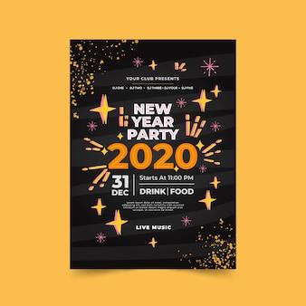 Modello del manifesto del partito disegnato a mano del nuovo anno 2020