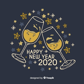 Hand drawn new year 2020 with glasses