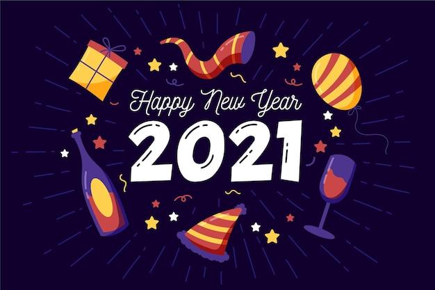 Fondo disegnato a mano del nuovo anno 2021
