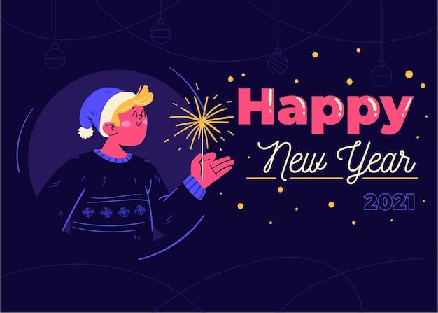 Hand drawn new year 2021 background