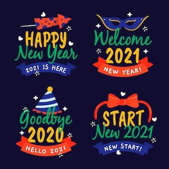 手描きの新年2021バッジコレクション