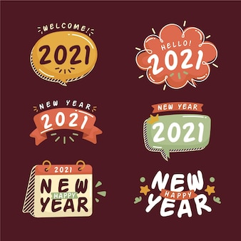 Hand drawn new year 2021 badge collection