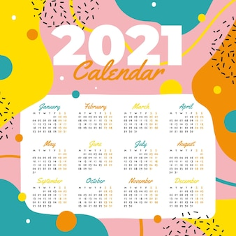 Hand drawn new year 2021 calendar template