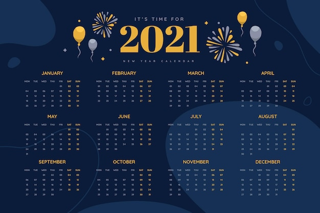 Hand drawn new year 2021 calendar with balloons and fireworks