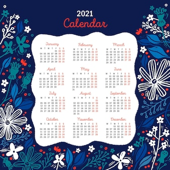 Hand drawn new year 2021 calendar with blue flowers