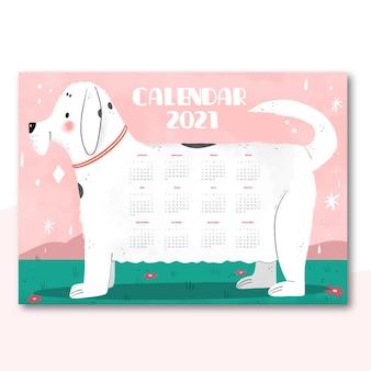 강아지와 함께 손으로 그려진 된 새 해 2021 달력