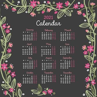 Hand drawn new year 2021 calendar with flowers
