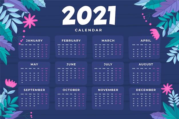 Hand drawn new year 2021 calendar
