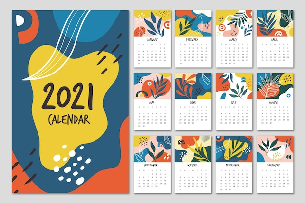 Hand drawn new year 2021 calendar