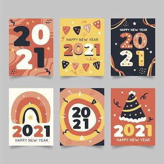 손으로 그린 새해 2021 카드 컬렉션