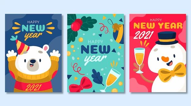 손으로 그린 새해 2021 카드 템플릿