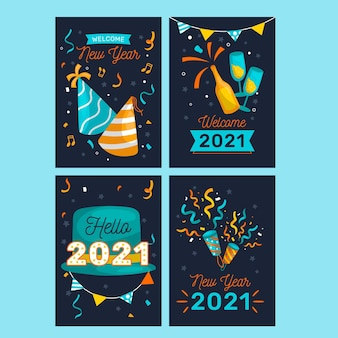 Hand drawn new year 2021 cards