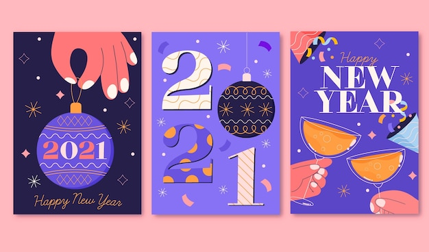 Нарисованные от руки новогодние открытки 2021 года