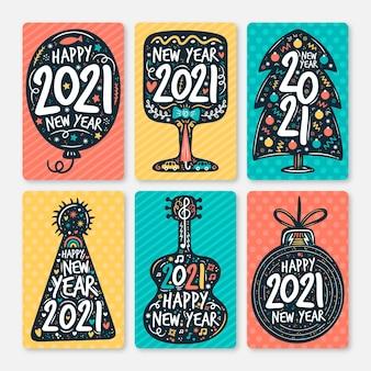 Carte disegnate a mano del nuovo anno 2021