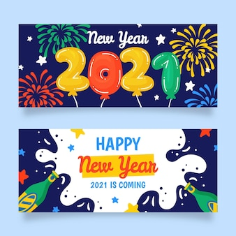 Hand drawn new year 2021 party banners template