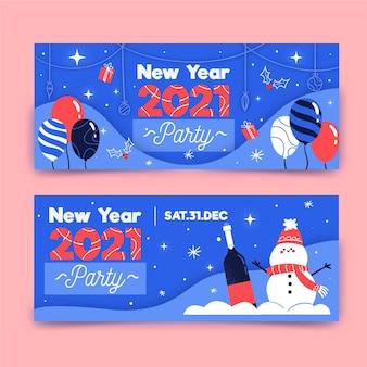 Modello di banner festa di nuovo anno 2021 disegnato a mano