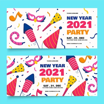 Hand drawn new year 2021 party banners