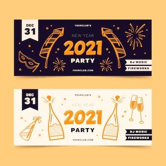 Bandiere del partito di nuovo anno 2021 disegnati a mano