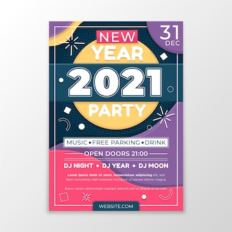 Нарисованный рукой шаблон флаера вечеринки новый год 2021