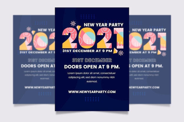 Hand drawn new year 2021 party flyer template