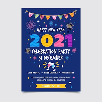 Hand drawn new year 2021 party poster template