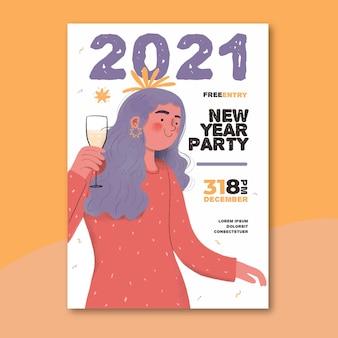Modello di manifesto del partito di nuovo anno 2021 disegnato a mano