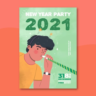 手描きの新年2021年パーティーポスターテンプレート
