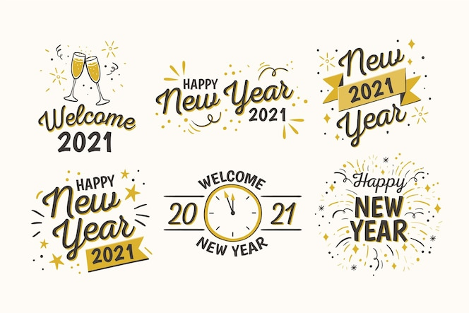 Hand drawn new year badge collection