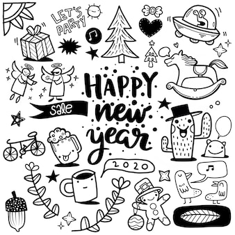 Hand drawn new year doodle on  background