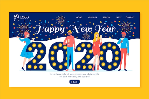 Hand drawn new year landing page template