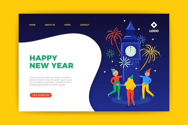 Hand drawn new year landing page