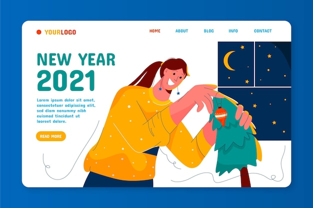 Pagina di destinazione del nuovo anno disegnata a mano