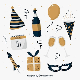 Hand drawn new year party element collection in golden and blue